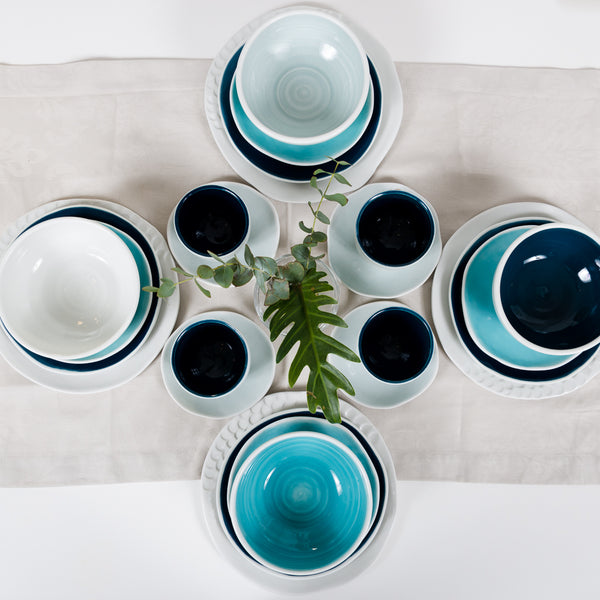 Blue set for four Dinning set - artisan handmade porcelain wedding gift tableware Boya Porcelain  dinnerware