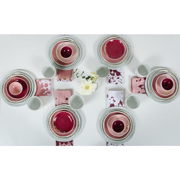 Exclusive 36-piece porcelain dining set Rouge Dinning set - artisan handmade porcelain wedding gift tableware Boya Porcelain  dinnerware