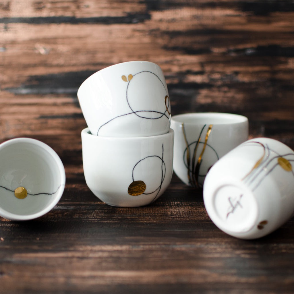 Nova Cup, Cappuccino and Espresso size Cup - artisan handmade porcelain wedding gift tableware Boya Porcelain  dinnerware