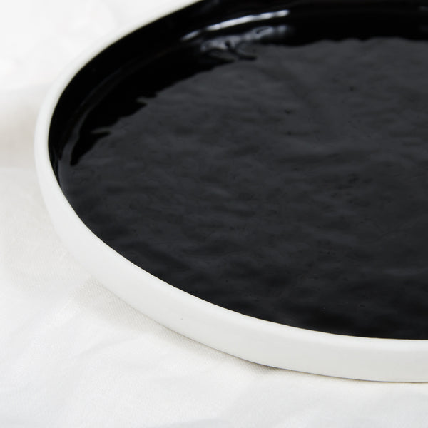 Black, glazed luncheon plate, high-rim