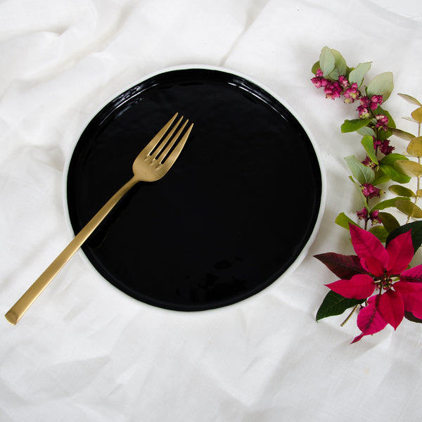 Black, glazed salad plate, high-rim salad plate - artisan handmade porcelain wedding gift tableware Boya Porcelain  dinnerware