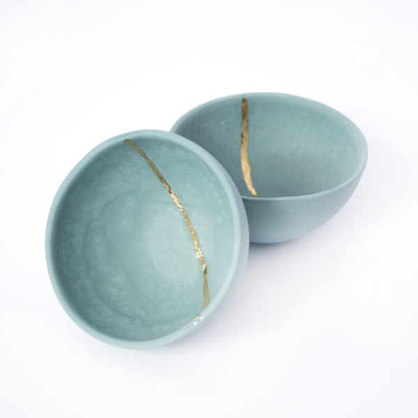 Bonaca Green&Blue spice bowl with golden stripe