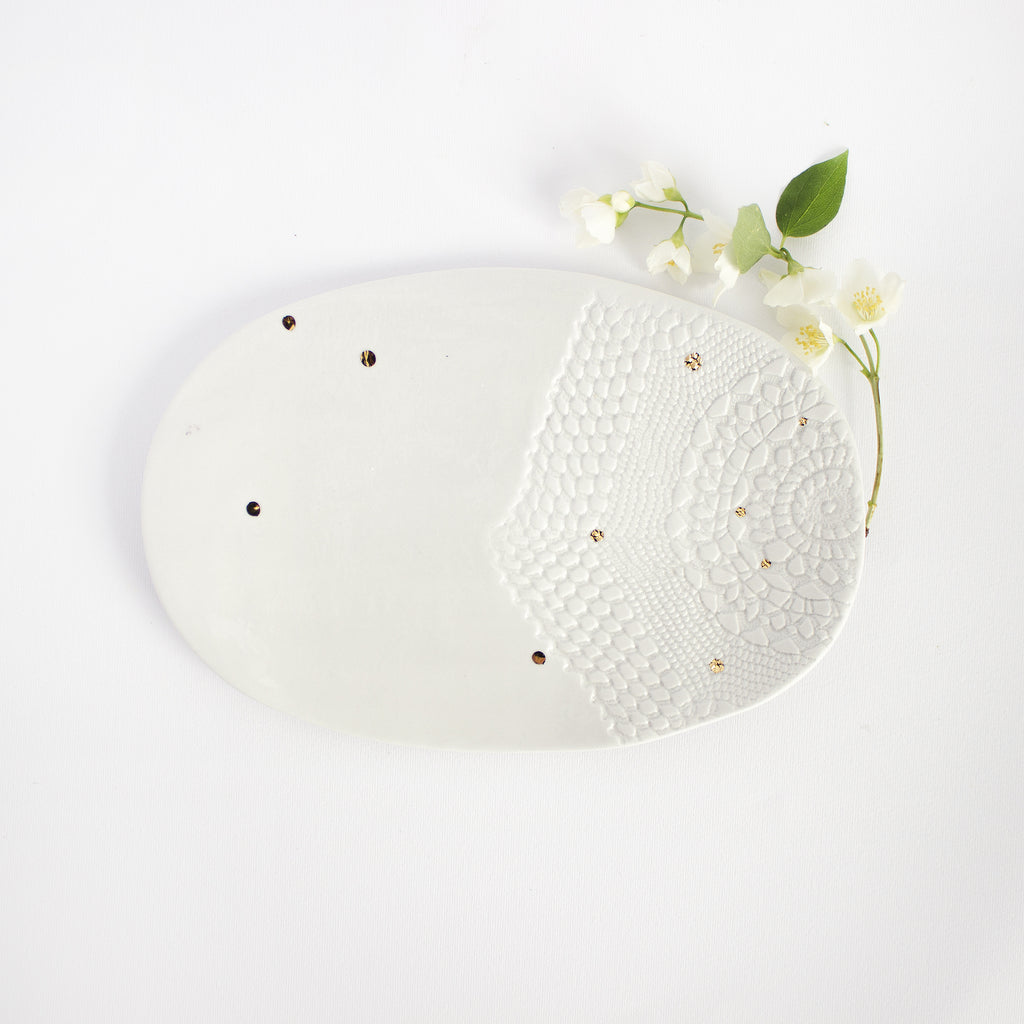 Oval serving plate, lace with golden polka-dots, two variants and two sizes Serving plate - artisan handmade porcelain wedding gift tableware Boya Porcelain  dinnerware
