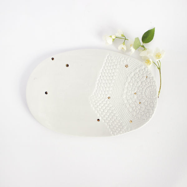 Oval serving plate, lace with golden polka-dots, two variants Serving plate - artisan handmade porcelain wedding gift tableware Boya Porcelain  dinnerware