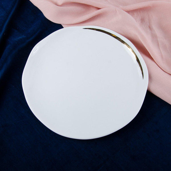 Luncheon plate, porcelain, white with a golden line