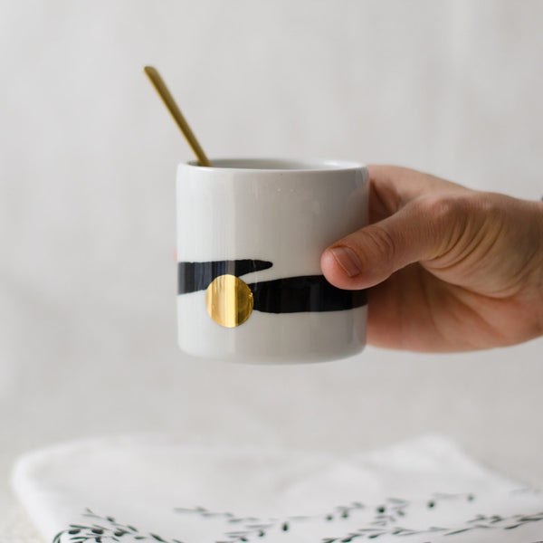 Cappucinno minimalistic cup, white with black brush stroke and golden dot Cappuccino cup - artisan handmade porcelain wedding gift tableware Boya Porcelain  dinnerware