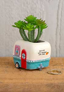 Little camper faux succulent