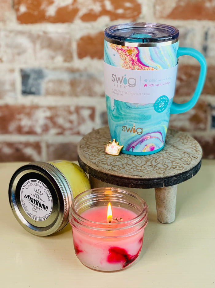 Coffee Mug with 2 half pint candles
