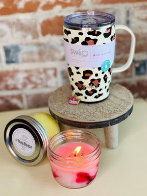 Coffee Mug with 2 half pint candles - Candle Queen Candles