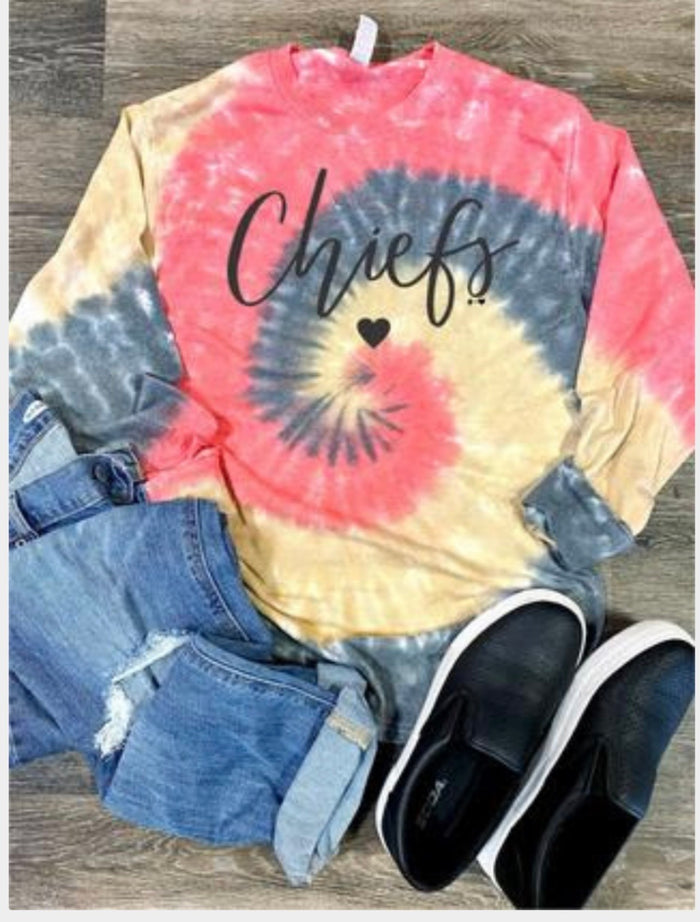SOLD OUT!! But getting more soon! CHIEFS long sleeve tee tie dye