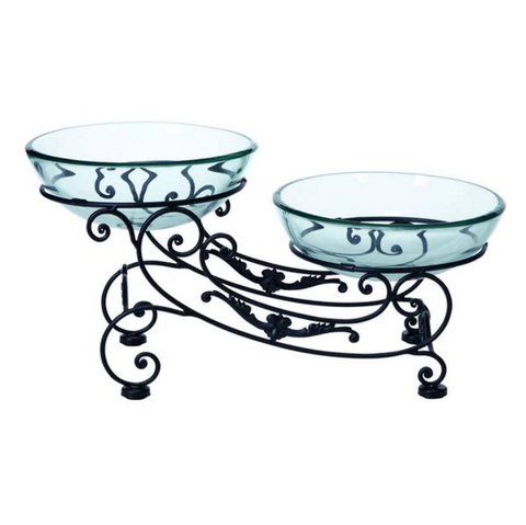 Sleigh Stand W/ Glass Bowls