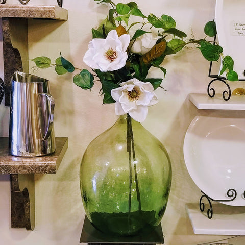 Green glass floral vase