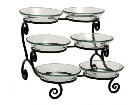 3 Tier Server W/6 Glass Bowls