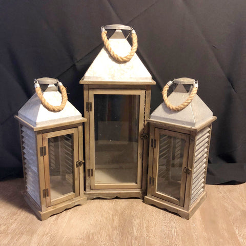 Wood and Metal Lantern Set
