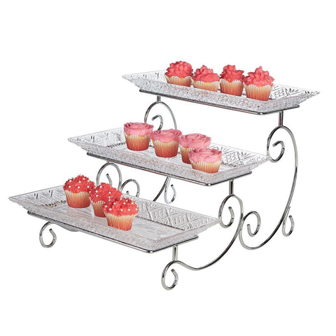 3-Tier Scroll Glass Stand
