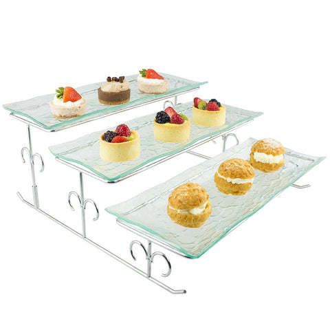 3-Tier Wave Glass Stand