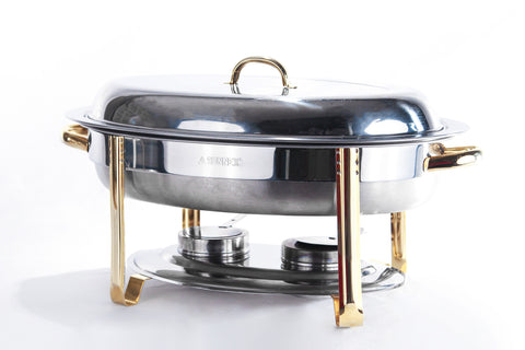 Chafer, 6qt. Silver & Brass