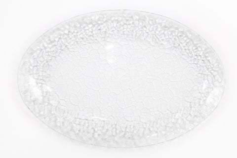 Textured Glass Oval Platter, 16""