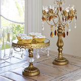 Cake Stand Antique Gold w/Crystals