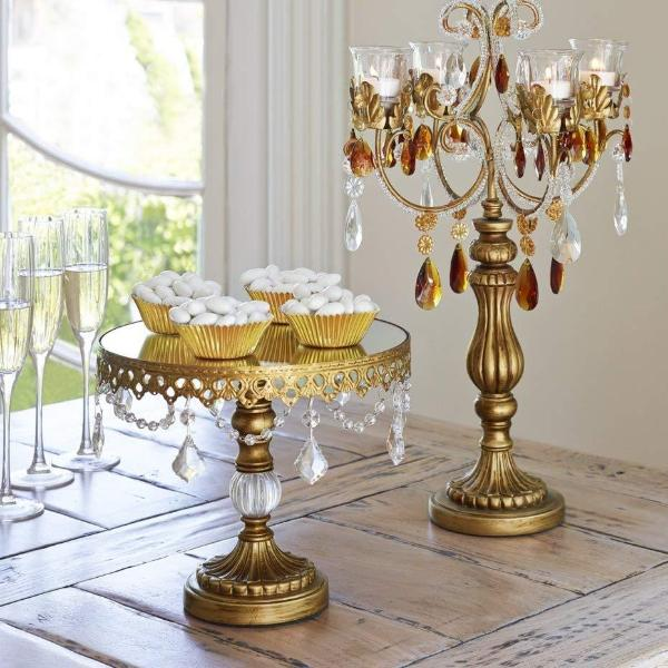 Cake Stand Antique Gold W Crystals Party Tents Amp Events