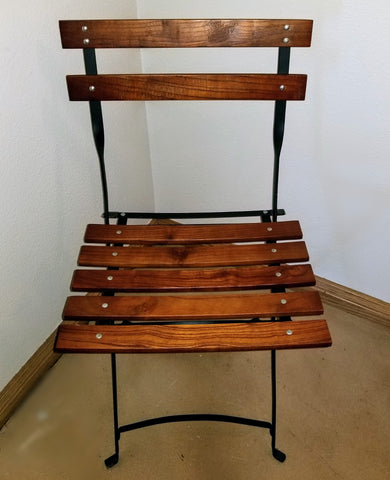 Rustic Wood & Steel folding chair