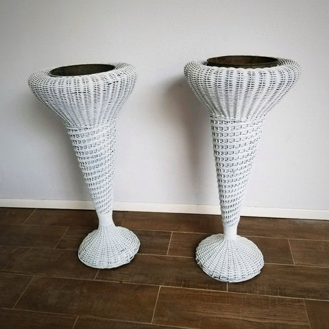 Wicker Plant Stand Set
