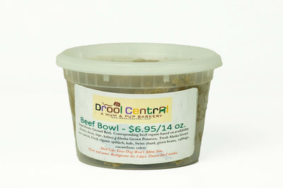 Fresh-frozen Beef Meal for dogs.