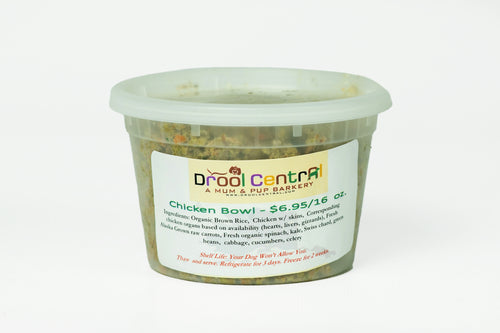 Drool Central's Fresh-Frozen 16 oz. Chicken Meal for Dogs.