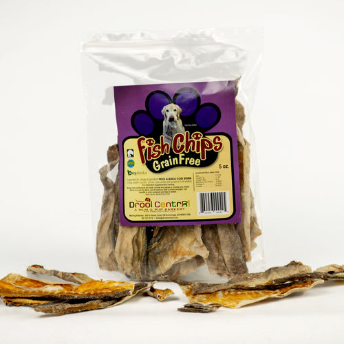 Wild Alaska Cod Skins  dog & cat treats- 5 oz. bg.
