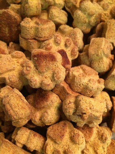 probiotic dog treats with goat kefir, bananas, pumpkin, sweet potatoes