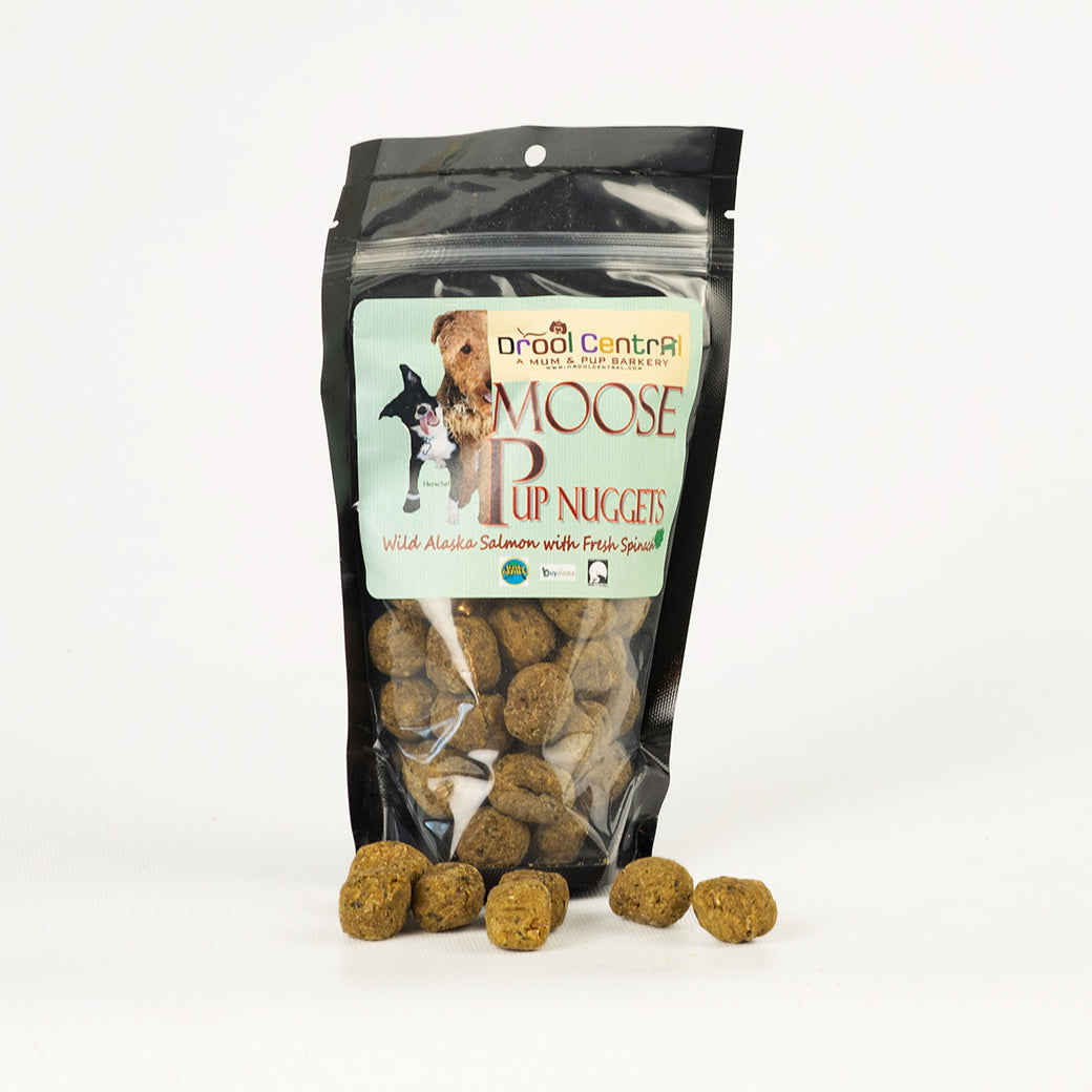 Edible version of Alaskan moose nuggets with salmon & spinach for dogs.