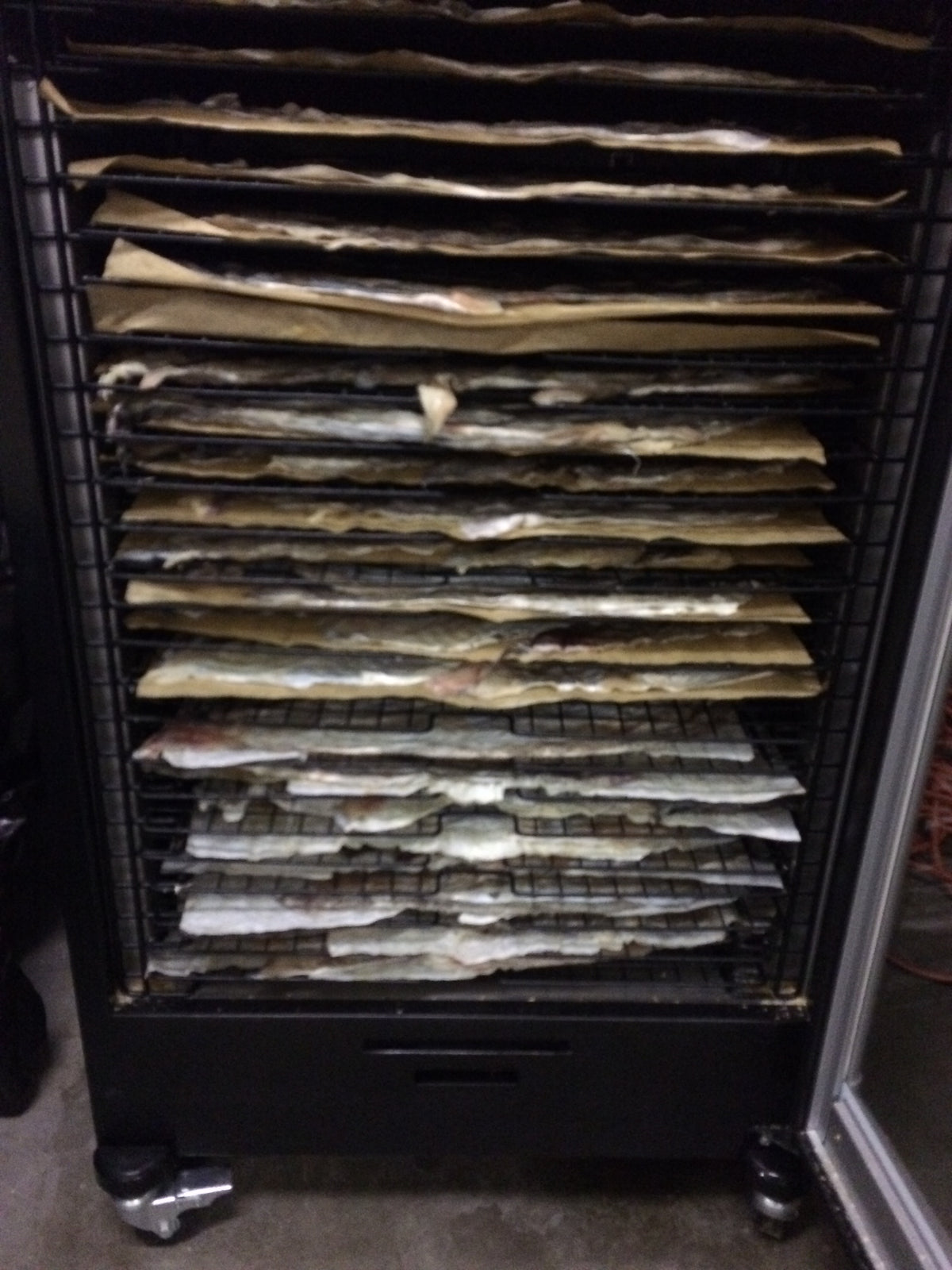 Wild Alaska cod skins ready for drying.