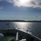 Scenic view from ferry crossing to Scottish Isles