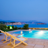 View overlooking pool and sea at Crete villa from KidandCoe