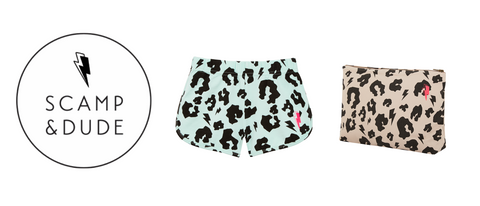 Scamp & Dude logo plus image of green leopard shorts and blush leopard swag bag