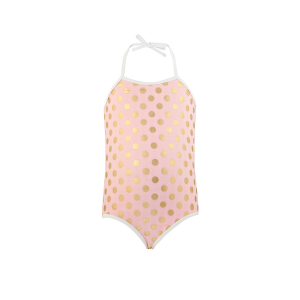 Pretty pink halter neck tie swimsuit with gold polka dot print and white trim and straps. UV50+ protection