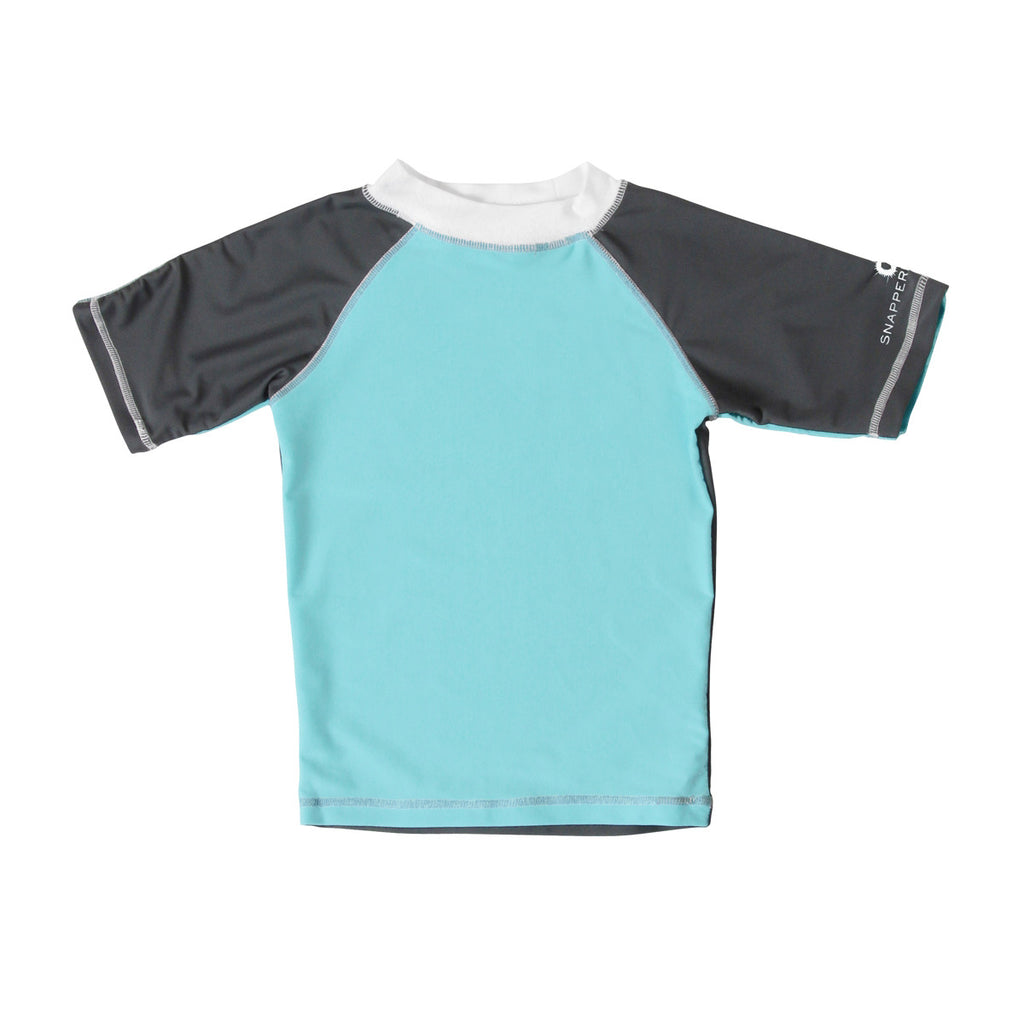 Aqua short sleeve rash vest with contrast grey sleeves and white neckline. Subtle 'Snapper Rock' white logo design to left sleeve. UV50+ protection