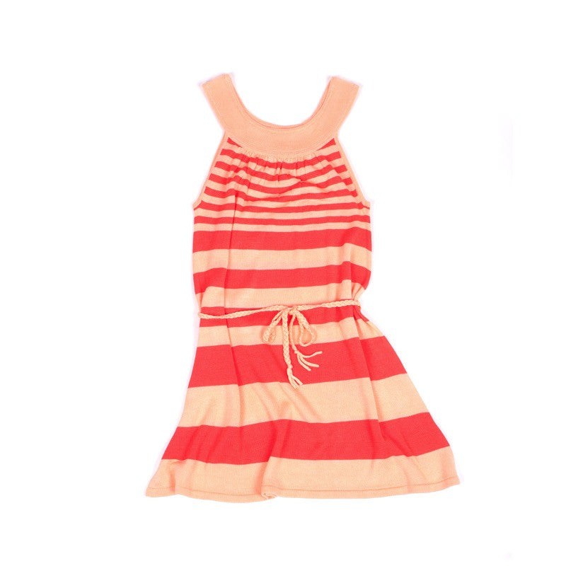 Front view of lightweight tunic dress with knitted belt. Soft bamboo fabric. Apricot and coral stripe.