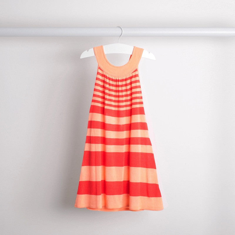 Hanging back view of lightweight tunic dress with knitted belt. Soft bamboo fabric. Apricot and coral stripe.