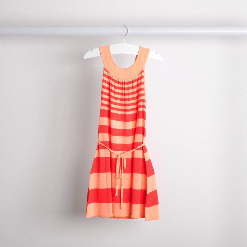 Hanging image of lightweight tunic dress with knitted belt. Soft bamboo fabric. Apricot and coral stripe.