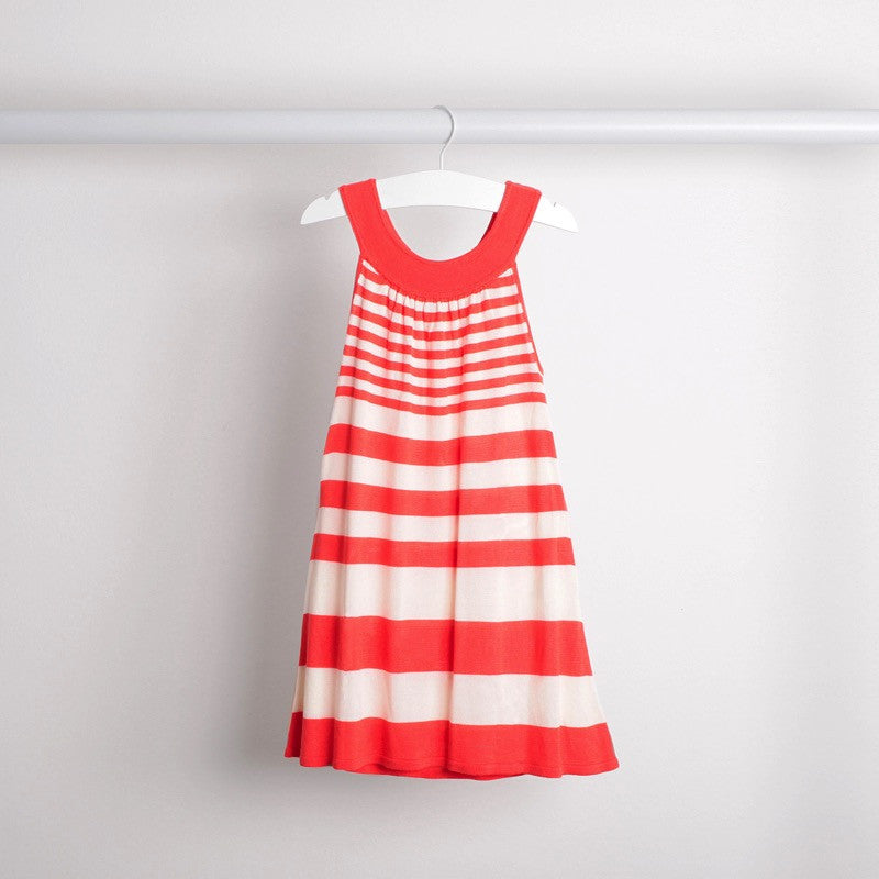 Hanging back view of lightweight tunic dress with knitted belt. Soft bamboo fabric. Coral and white stripe.