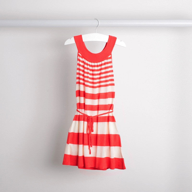 Hanging image of lightweight tunic dress with knitted belt. Soft bamboo fabric. Coral and white stripe.