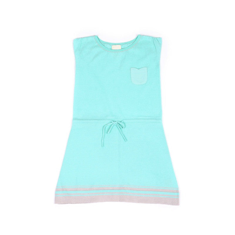 Front view of floaty cotton dress with waistband tie. Pastel aqua with grey stripe detail at hem and floral shaped pocket at front.