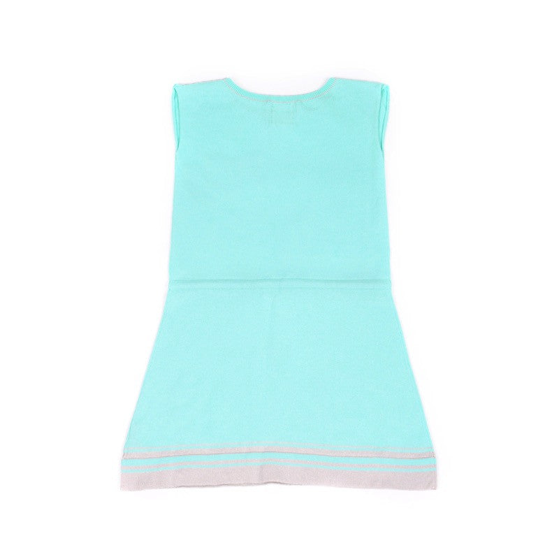 Back view of floaty cotton dress with waistband tie. Pastel aqua with grey stripe detail at hem