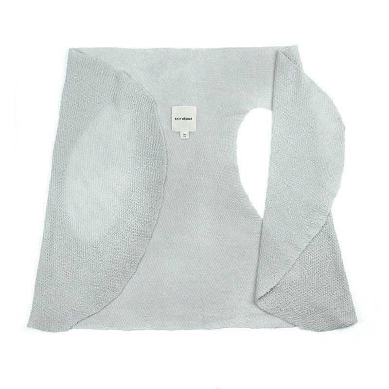 Versatile flowing fine knit gilet - can also be used as lightweight summer scarf. Soft grey colour