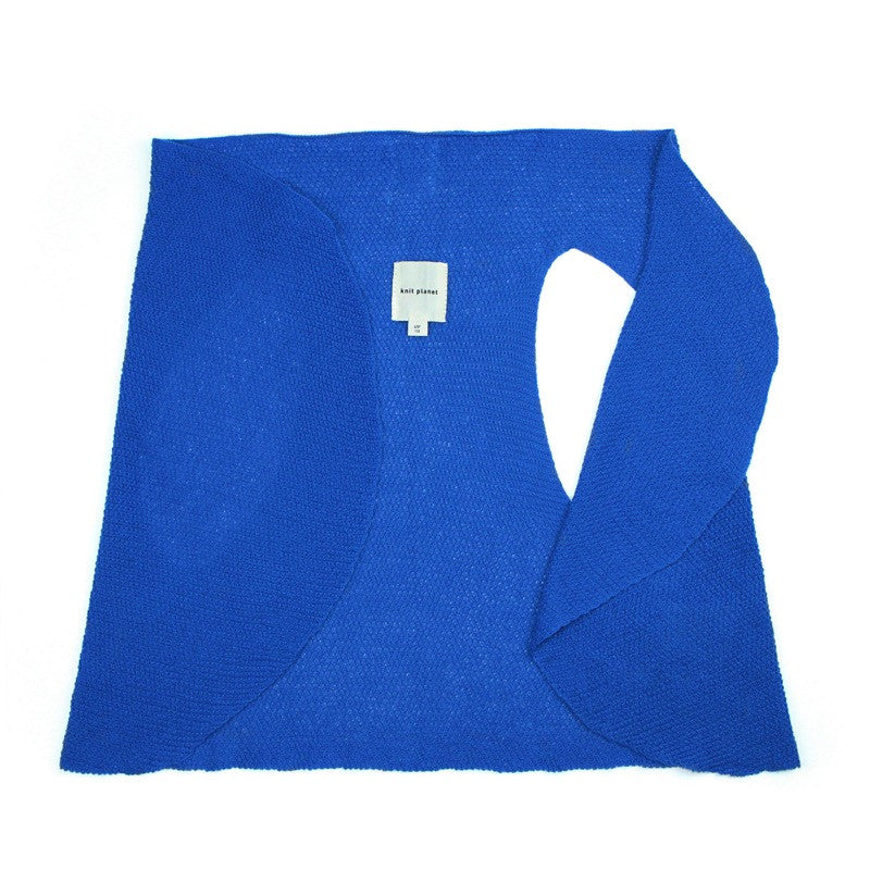 Versatile flowing fine knit gilet - can also be used as lightweight summer scarf. Bright blue colour
