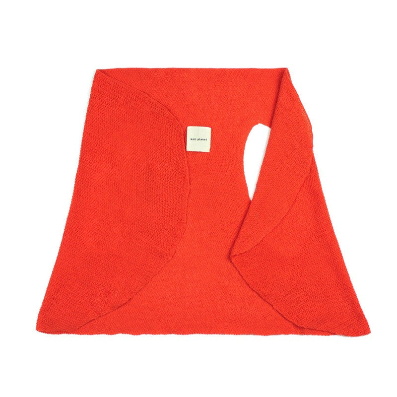 Versatile flowing fine knit gilet - can also be used as lightweight summer scarf. Vibrant orange colour