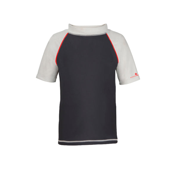 Charcoal grey short sleeve rash vest with contrast white sleeves and collar and red piping details. Red 'Snapper Rock' logo design to left sleeve.