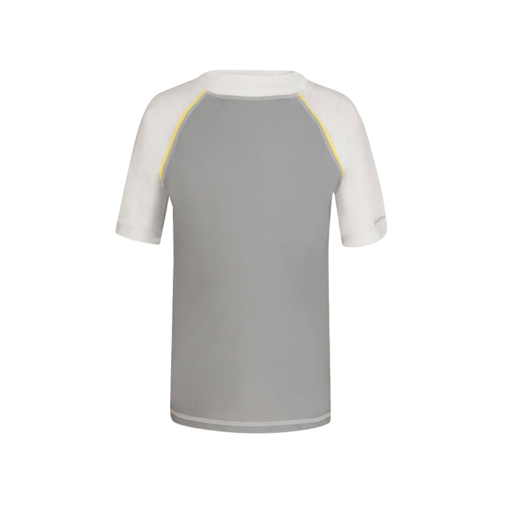 Light grey short sleeve rash vest with contrast white sleeves and collar and yellow piping details. Grey 'Snapper Rock' logo design to left sleeve. UV50+ protection