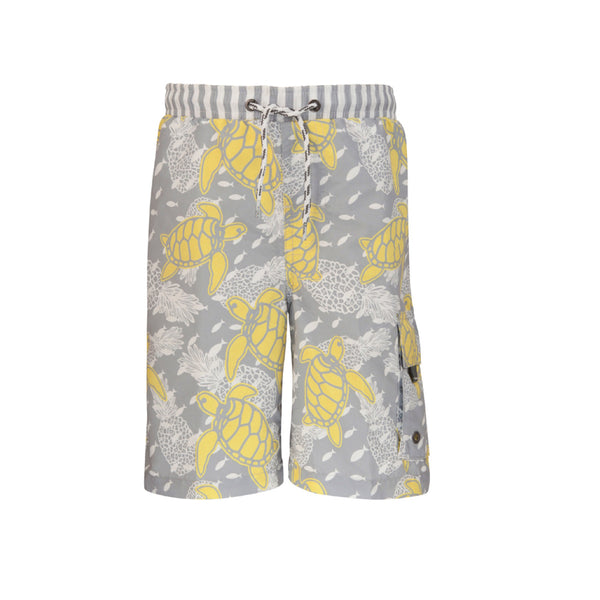 Fun turtle print long swim shorts - pale grey with yellow and white turtle print. Drawstring waist and large pocket to lower left leg. UV50+ protection